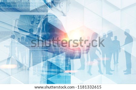 Photo of Businessman reading papers over a crowded office background. Geometric pattern and cityscape. Concept of leadership in business. Toned image double exposure mock up