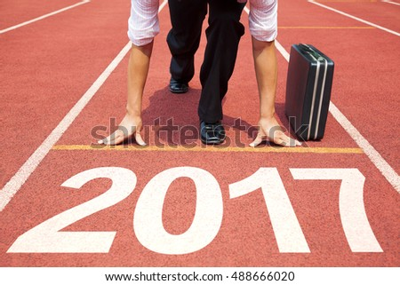businessman ready to run and 2017 new year concept #488666020