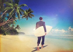 Businessman Relaxing Beach Holiday Surfing Travel Concept
