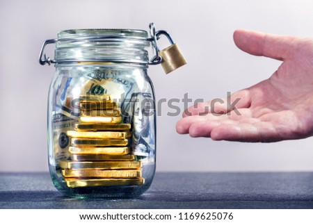 Businessman requesting for money loan from a bank. Financial concept. #1169625076