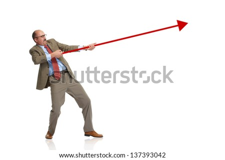 Businessman retain a rising arrow, representing business growth