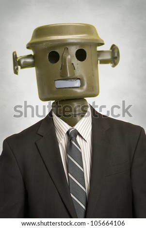 Businessman robot portrait automation concept