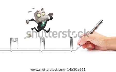 businessman run across bars which drawn by hand