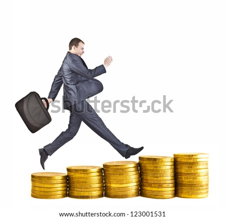 Businessman run in a bar graph coin