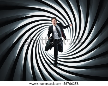 businessman run in 3d gun pipe