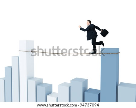 businessman run on rope with financial chart background