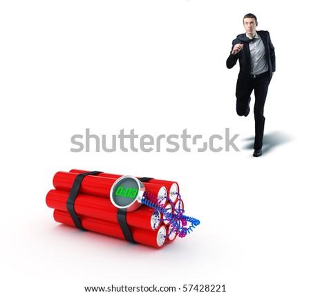 businessman run to stop 3d tnt clock bomb - stock photo