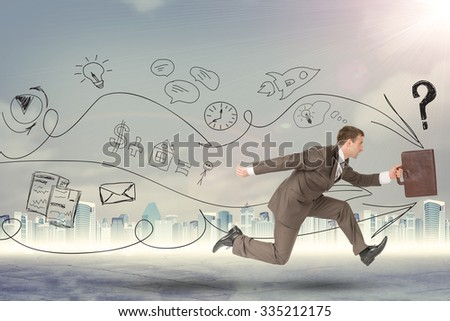 Businessman running fast with suitcase on abstract background
