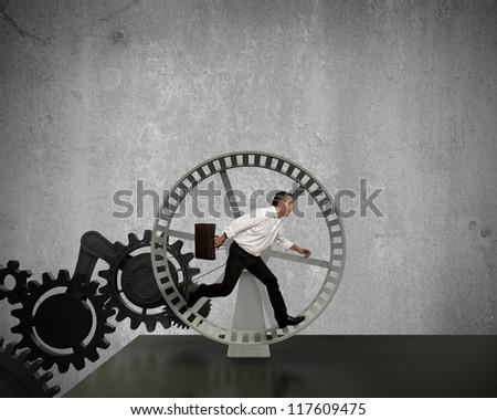 Businessman running in a business power generator