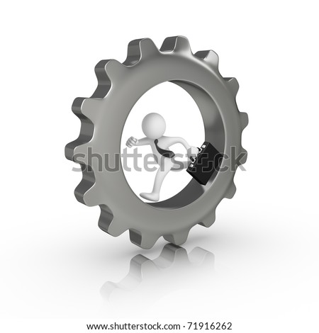 Businessman running inside a big gear - stock photo