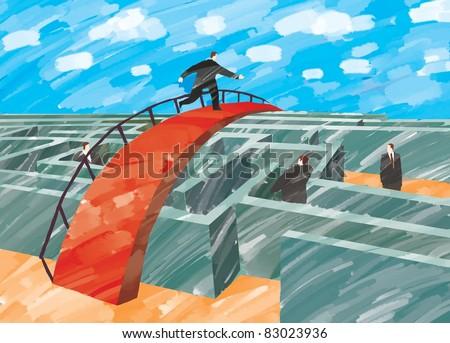 Businessman running on the bridge over the maze illustration