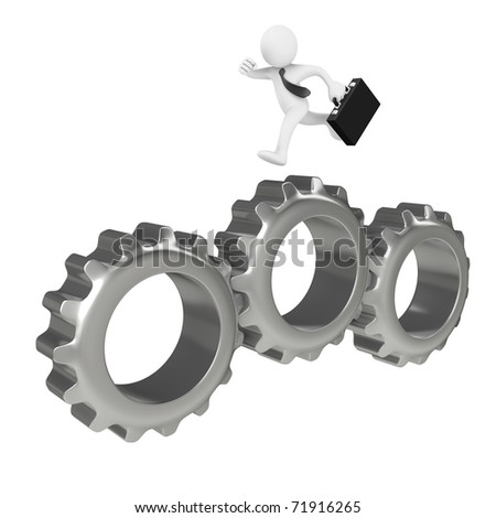 Businessman running over big gears