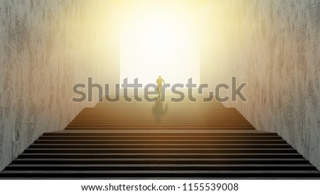Businessman running up stairs, concept of ambition.