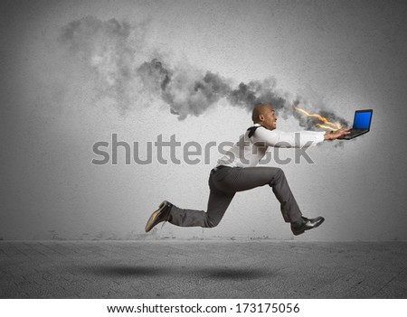 Businessman running with blue screen computer error #173175056