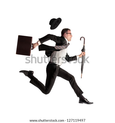 businessman running with briefcase and umbrella in hand on white background