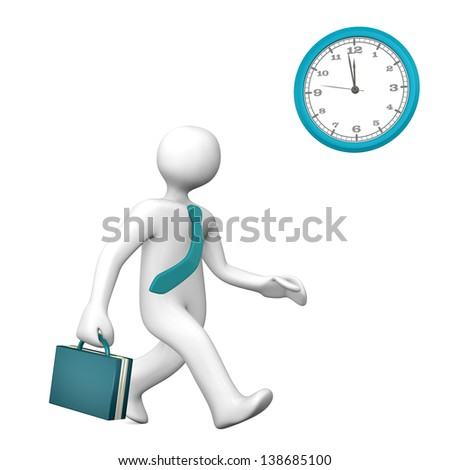 Businessman runs with cyan case and tie.White background.