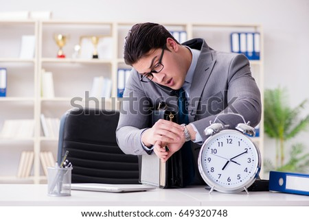 Businessman rushing in the office