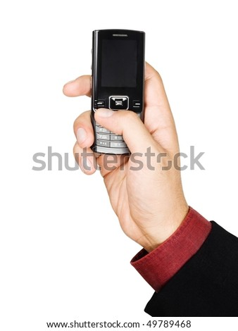 Businessman's hand holding a cell phone - isolated on white background