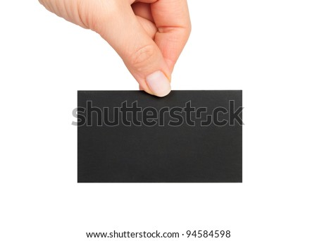 Businessman's hand holding blank black paper business card, closeup isolated on white background