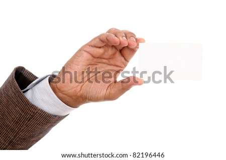 Businessman's hand holding blank paper business card on white background.