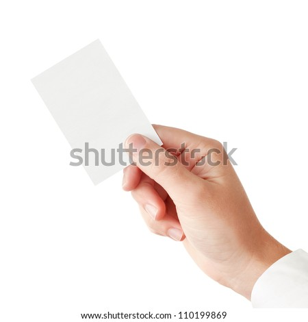 Businessman's hand in a pink shirt sleeve holding blank paper business card, closeup isolated over white background
