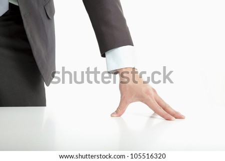businessman 's hand put on the table