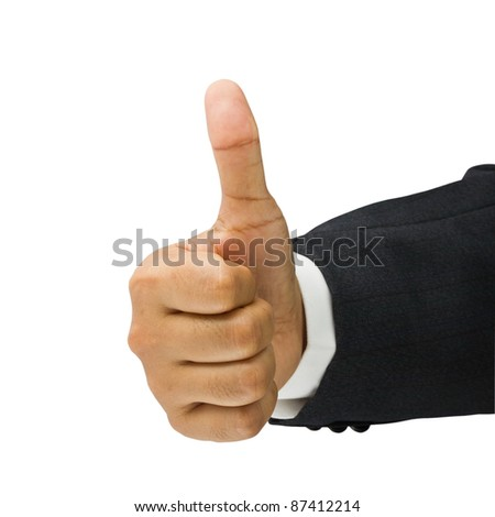 Businessman's hand show thumb up isolated on white