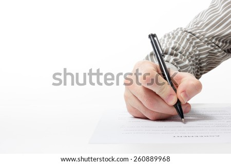 Businessman\'s hand signing papers. Lawyer, realtor, businessman sign documents on white background. Copy space for text.