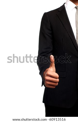 businessman's hand with a raised finger up
