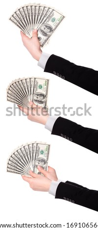 Businessman's hands with dollars isolated on a white background