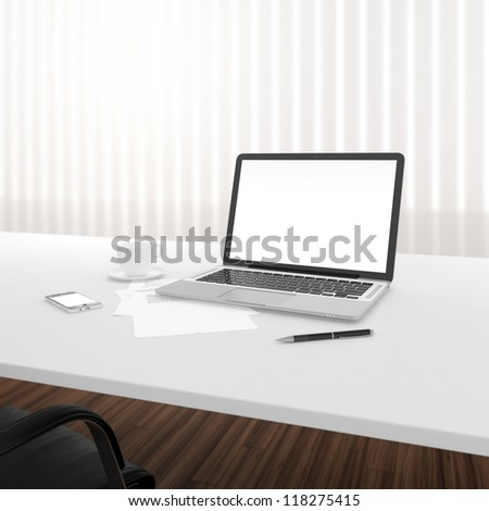 Businessman's place of work with laptop and smartphone on white table