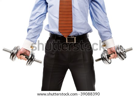 businessman's torso with dumbbells. Isolated