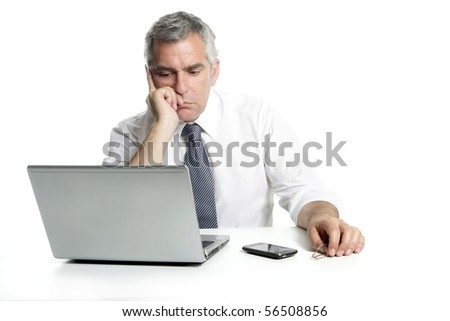businessman sad senior thinking laptop computer white background gray hair