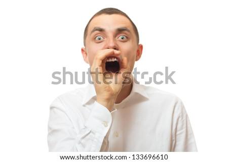 businessman says something loud