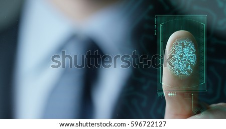 businessman scan fingerprint biometric identity and approval. concept of the future of security and password control through fingerprints in an immersive technology future and cybernetic, business