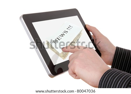 businessman searching a news information on pad