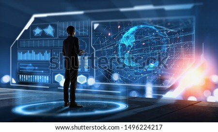 Businessman searching for big data.Digital transformation concept.Innovative and High technology Of Business.