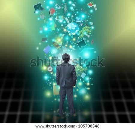 Businessman select virtual object