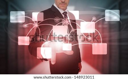 businessman selecting...