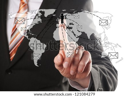 businessman send an email to his contacts around the world