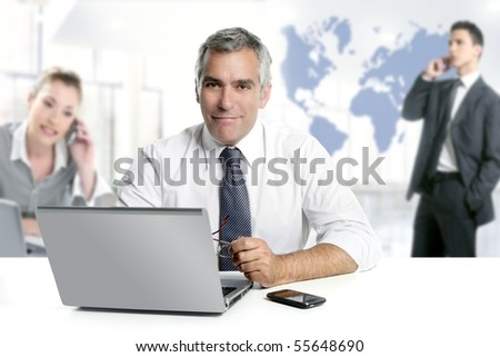 businessman senior expertise teamwork world map global communication [Photo Illustration]