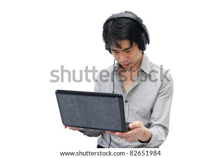 Businessman  serious with headphone and notebook