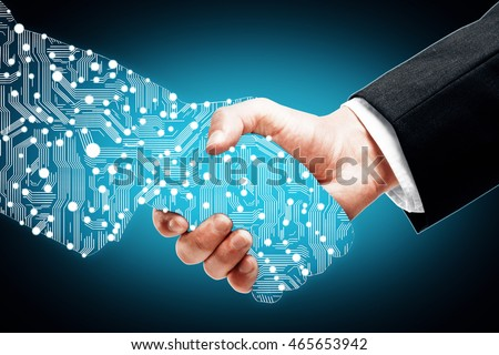 Businessman shaking digital partners hand on blue background #465653942