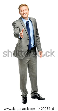 Businessman shaking hands isolated on white