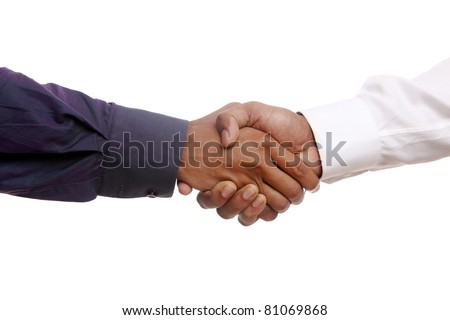 businessman shaking hands, over a white background - stock photo