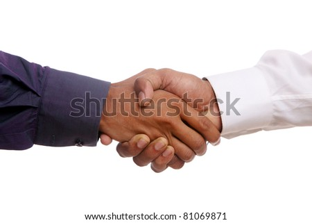 businessman shaking hands, over a white background