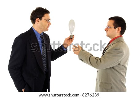 Businessman sharing an idea with his colleague
