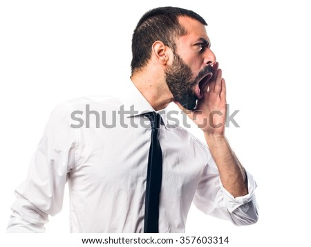 Businessman shouting #357603314