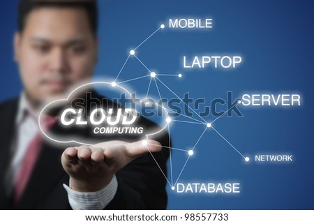 Businessman show a Cloud Computing diagram