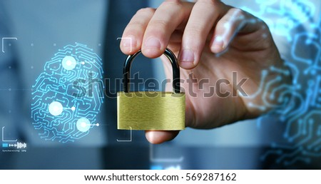 businessman show a padlock with keys in safe sign with futuristic holographic about services and safety.concept of:password,Protection system files from technological hacker internet or banking system